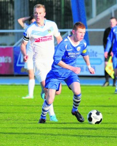 Waterford United striker Mikie Rowe heads for goal against UCD in the Under 19 League at the RSC last Saturday.