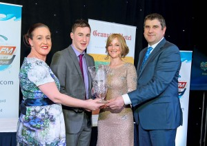 Overall winner Conor Gleeson receiving his award from Jackie Cusack (Granville Hotel), Liz Reddy (WLRfm) and Guest of Honour Michael Duignan at the Granville Hotel on Saturday last.