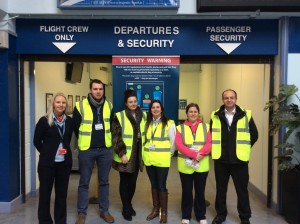 Going behind the scenes: Claire (Waterford Airport), Kieran, Chloe, Tracey, Pamela and Max (European Aviation College).