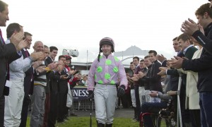 A guard of honour for David Casey from his fellow jockeys as he prepares for his last ride as a professional at Listowel last Wednesday
