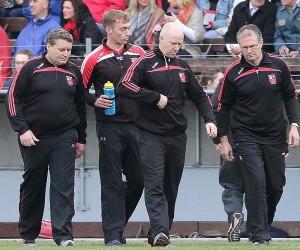 The Ballygunner management team of Darragh O'Sullivan, injured talisman Pauric Mahony, selector Gary O'Keeffe and Bainisteoir Denis Walsh.