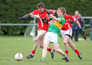 Stradbally's Jack Mullaney and Gaultier's Brad Carroll in action earlier this season.