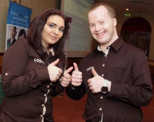 Nicola Byrne (Costa Coffee) with her work colleague Brian McSweeney at Dooley's on Tuesday last
