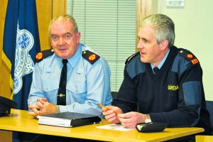 Assistant Garda Commissioner Jack Nolan and Superintendent Chris Delaney pictured during the Operation Thor media briefing held at Waterford Garda Station on Thursday last