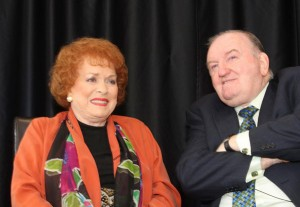 Maureen O'Hara pictured with George Hook during her visit to New Ross in 2011.