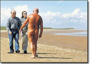 Some walkers on Tramore Beach were surprised to meet naturists who were also out for a stroll and taking the air.