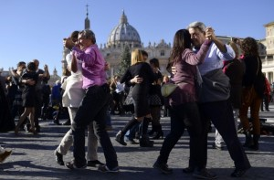 Tango dancers from all over the world came and danced in St Peter's Square in Rome as a gesture to dance fan Pope Francis on the occasion of his 78th birthday.