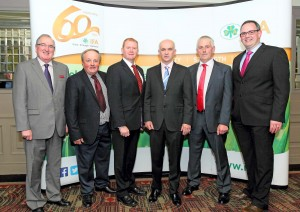 Pictured at the IFA 60th Anniversary Banquet in Lawlor's Hotel, Dungarvan were Senator Maurice Cummins, John Joe Byrne, V-Chairman, Waterford IFA, Minister of State, Dept.of the Environment, Paudie Coffey TD, Eddie Downey, President IFA, John Fitzgerald, Chairman Waterford IFA and Joe Kelly, Regional Development Officer, IFA. Photo: Noel Browne.