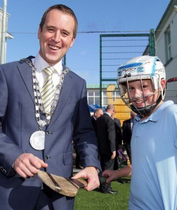 City & County Mayor John Cummins pictured with Declan Ryan at Mount Sion Primary School.