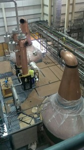 The pot stills during their recent installation at the Distillery on Grattan Quay