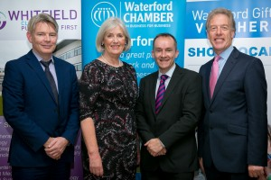 David Beirne (CEO, Whitfield Clinic), Madeleine Quirke (Chair of South East Chambers), Dermot Goode (totalhealthcover.ie),  and Nick Donnelly (CEO, Waterford Chamber) at an Employee Healthcare Information and Benefits Seminar held in Whitfield Clinic on Wednesday last.
