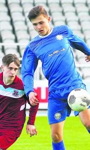 Blues striker Luke Kiely in control against Cobh Ramblers
