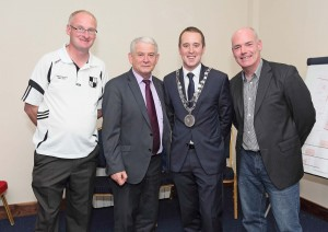 Pictured at St Saviour's GAA Club for the re-opening of their clubhouse on Tuesday last were Mayor John Cummins, Noel Reidy (Secretary, St Saviour's), Paddy Joe Ryan (Chairman, Waterford County Board) and Mark Corcoran (Chairman, St Saviour's). See Sport 8 & 9 for more