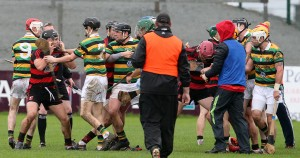 The 21st minute scuffle that led to red cards for both Philip Mahony and Dean Brosnan.