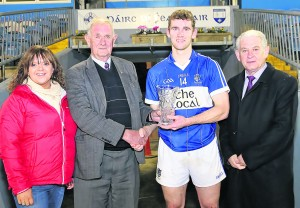 Ken Begley (JJ Kavanagh & Sons [Sponsors]) presents the Man of the Match Award on Wednesday evening last to Ballinameela's Brendan Phelan. Also pictured Emer Barry (Waterford GAA PRO) and Paddy Joe Ryan (County Board Chairman).
