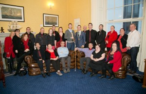 Mayor of Waterford City and County Council, Cllr John Cummins, recently welcomed members of the High Hopes Choir, Focus Ireland and St Vincent De Paul to City Hall to congratulate them on the High Hopes Choir TV Documentary being awarded Best Documentary at the 2015 IFTA awards.   Photo: John Power.