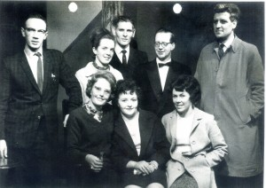 On stage in the Little Theatre, 10 Henrietta Street, Margaret Keane, front row, centre, with Pat McGrath on her left; Back from left, Denis McGrath, right Teddy O'Regan.