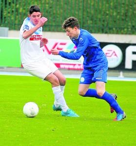 Blues u17 striker Sean Roche on the attach against UCD at the RSC last Saturday