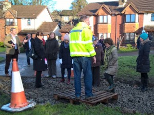 Cllr Ger Frisby (far left), pictured with locals and construction officials at Castle Oaks, on Friday morning last.