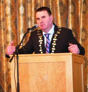 Cllr Liam Brazil speaking at the first Mental Health and Suicide Awareness conference which he organised in 2012.