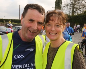 Cllr Liam Brazil and his wife Marie at last April's charity cycle in aid of Suicide or Survive.