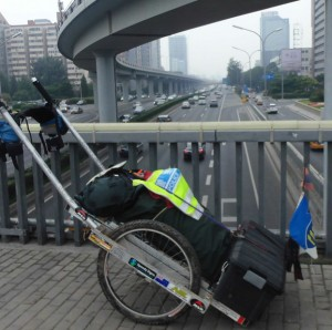 The homemade cart pictured in Beijing  - with the Déise flag proudly on display at the front!