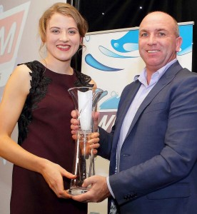 WLRfm/Granville Hotel GAA Overall Winner Patricia Jackman receives her prize from special guest, Kilkenny legend DJ Carey, at last Saturday's ceremony at the Granville Hotel.  | Photos: Noel Browne