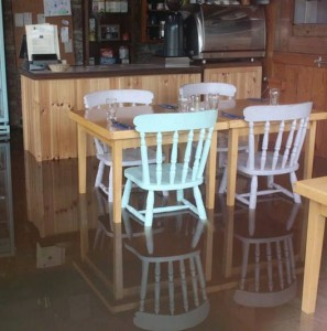 The grim sight at the Three Sisters Restaurant in the wake of Storm Frank last Wednesday
