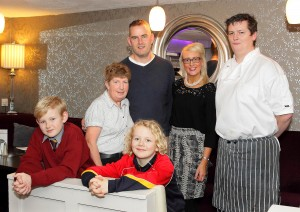 Proprietors of The Vee Bistro, Derek and Catherine O'Sullivan with Head Chef, Tom Doyle and their children Josh and Dylan O'Sullivan and Waitress Theresa Donnelly.