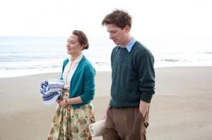 Saoirse Ronan and Domhnall Gleeson filming 'Brooklyn' on Curracloe Strand in County Wexford.