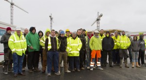 Workers pictured after downing tools at West Pharma on Monday morning.   Photo: Mick Wall