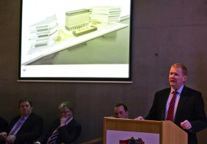 Minister of State Paudie Coffey announcing the SDZ status for the North Quays on Friday last. Also pictured are Lar Power and Michael Walsh (Waterford City & County Council) and City and County Mayor John Cummins. 		| Photo: Mick Wall