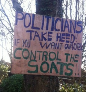 The general election signage erected by the Lynch family in Passage East, outlining their concerns.
