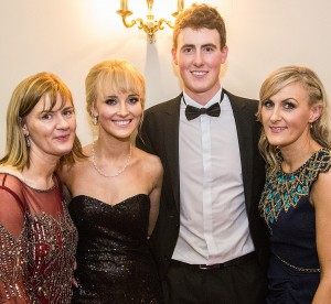 Gary Hurley, pictured with Christine Burke, Emily Rose Byrne and Gina Ronayne at the Park Hotel Awards on January 23rd. 	| Photo: Sean Byrne