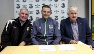 Republic of Ireland U18 Manager Jim Crawford in Gruan Park Tramore on Thursday last to announce his squad for the two International friendlies against Wales later this month pictured with John Power (Tramore AFC) and Milo Corcoran (FAI).
