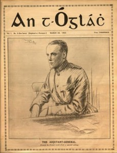 A portrait of Gearóid O'Sullivan which featured on the cover on 'An tÓglach', a publication of the Irish Army, on March 24th, 1923 (priced Two Pence). O'Sullivan raised the Tricolour on the GPO on Easter Monday, 1916.