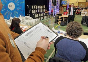 Tallying at last Saturday's General Election count at WIT.| Photo: Noel Browne