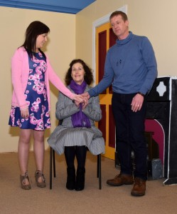 Karen Power, Eileen O' Leary and Jim Laffan in rehearsal for 'Separate Beds'.  See Townlands for more photos.