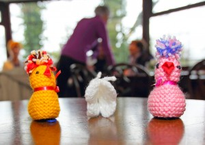 The beautiful chicks created by the ladies of Headgear for Hospice.