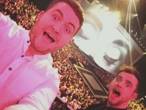 Greatest Waterford Selfie ever? Glenn Murphy and Ronan Scolard on the 3 Arena stage after being invited to perform by Adele on Saturday night. Inset: the duo in full flight!