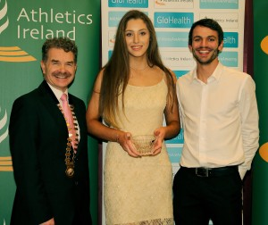 : Emerald Crystal Athletics Ireland Juveniles Star Awards: Neasa Murphy, Ferrybank AC receives the Waterford Award from Thomas Barr, International Athlete (Special Guest) and Ciaran O'Cathain, President Athletics Ireland, at the Athletics Ireland Star Awards Function in the Tullamore Court Hotel.  Photo: Dan McGrath/Editorial Images.