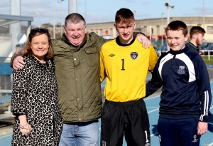: A very proud Dunphy family at the RSC as Ireland took on Wales in the Under 18 International.  L-R : Martina Dunphy, Johnny Dunphy, Craig Dunphy, Reece Dunphy.