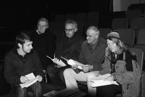 In rehearsal with the cast and crew.