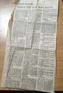 An original cutting of Eileen's column, from The Munster Express of December 29th, 1978, including her final poetic contribution of the year (which is republished on this page).