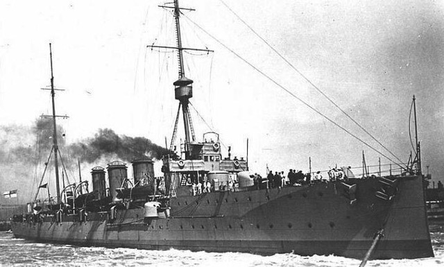 A British naval cruiser similar to the one sent to Tramore to intercept a 'mysterious ship' in July 1914.