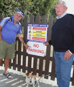 Cockle pickers John Collins and Paddy Ryan pictured at one of last year's protests.  | Photo: Noel Browne