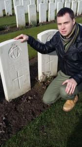 Kieran visits John Condon's grave in Poelkapelle Cemetery, Flanders.