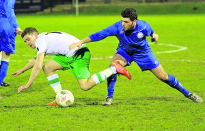 :  Blues Darren Murphy wins another vital tackle  against Cabinteely