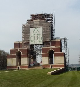 Thiepval Memorial which is under reconstruction ahead of commemoration events.