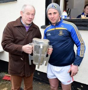 Martin Gordon and Gary Morahan pose with the Liam MacCarthy Cup in Portlaw. | Photos: Joe Cashin